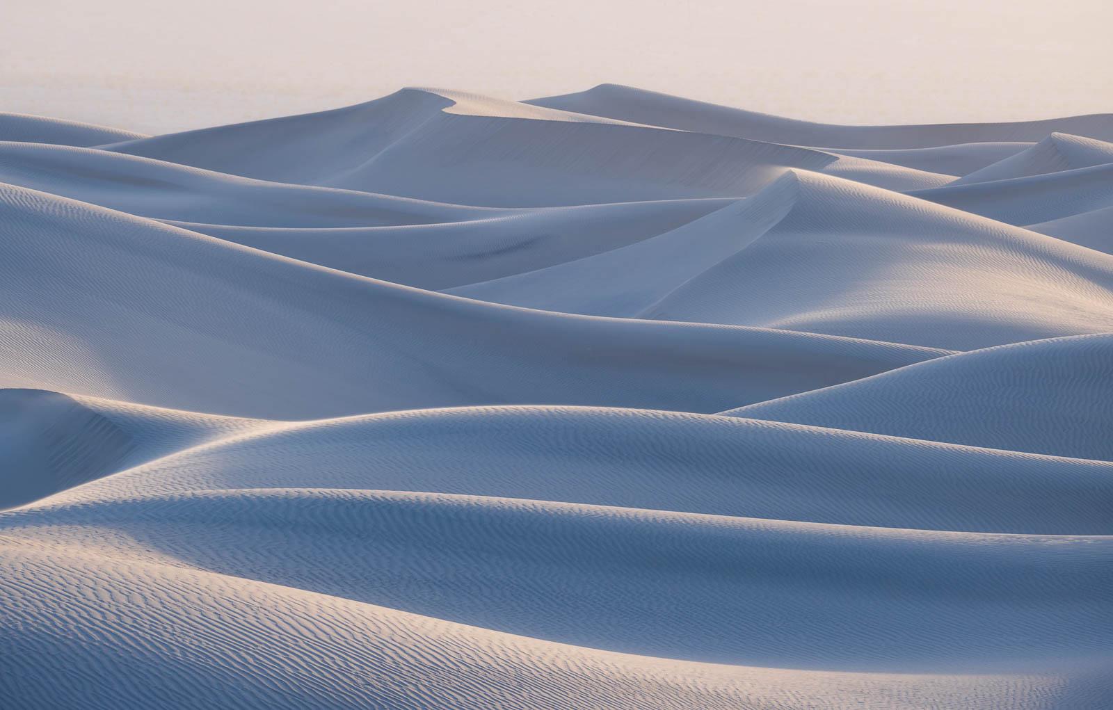 blue, california, death valley national park, landscape orientation, mesquite dunes, pastel, sand dunes, mojave desert