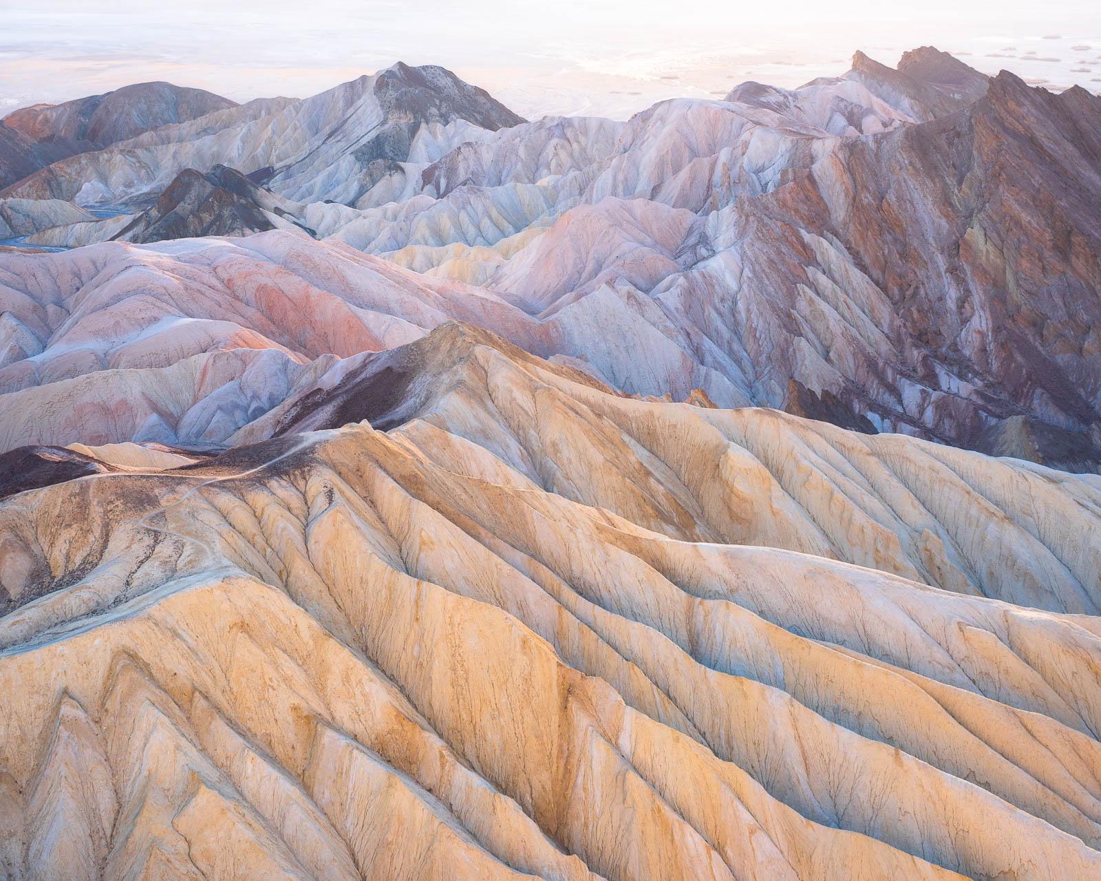 badlands, california, death valley national park, landscape orientation, pastel, red, yellow, zabriskie point, mojave desert