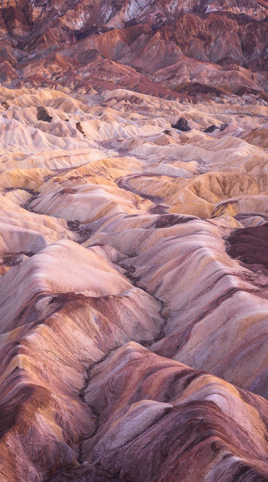 badlands, california, death valley national park, panorama, red, yellow, zabriskie point, mojave desert, vertical panorama