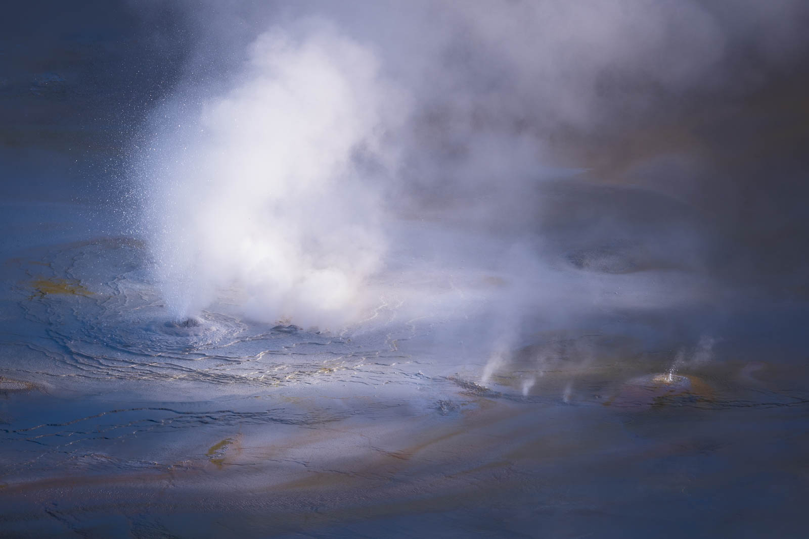 Wyoming, blue, geyser, steam, yellowstone national park, ynp, rocky mountains