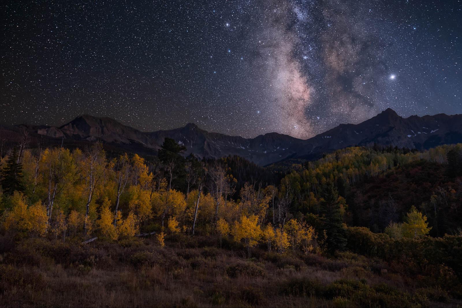 aspen, black, blue, colorado, landscape orientation, milky way, rocky mountains, san juan mountains, stars, tree, yellow