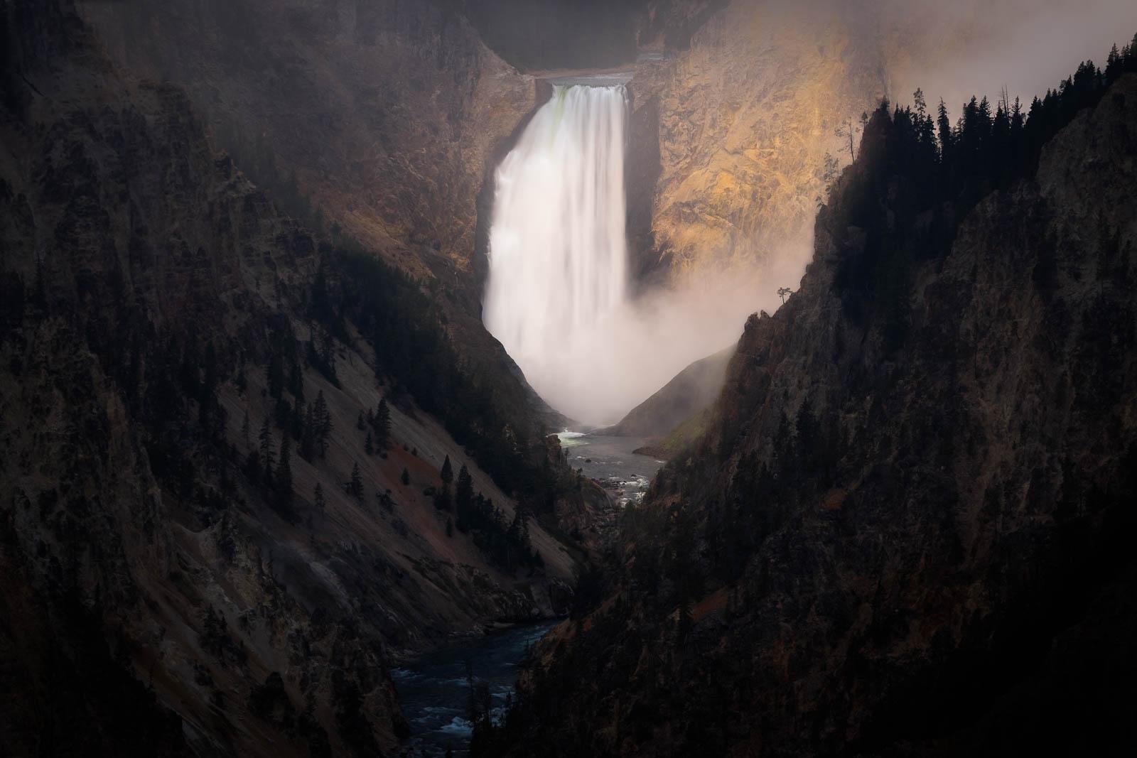 Wyoming, artist point, black, brown, dramatic, landscape orientation, lower yellowstone falls, rocky mountains, waterfall, yellowstone...