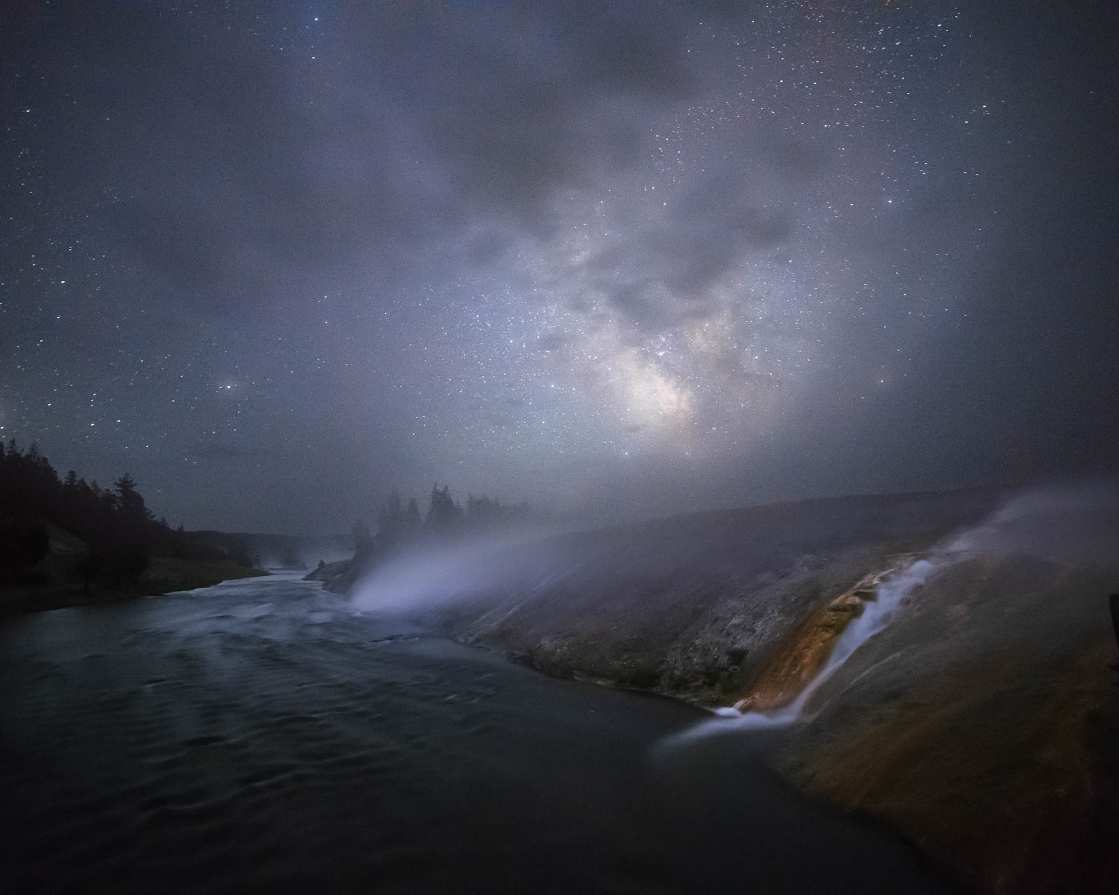 Night, Time, Wyoming, blue, firehole river, milky way, nightscape, river, rocky mountains, stars, yellowstone national park...