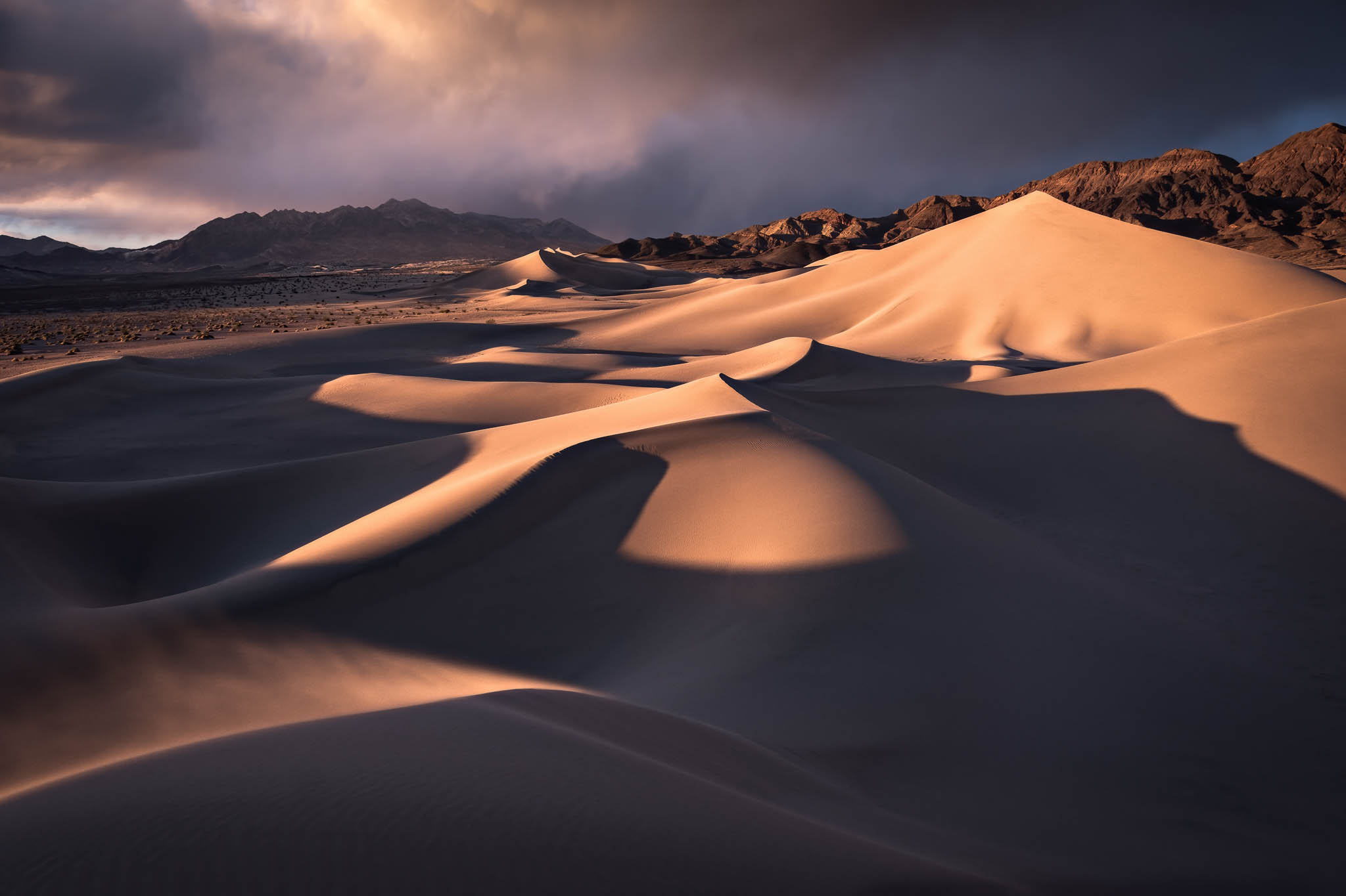 Time, blue, california, clouds, death valley national park, dramatic, ibex dunes, landscape orientation, mojave desert, sand...