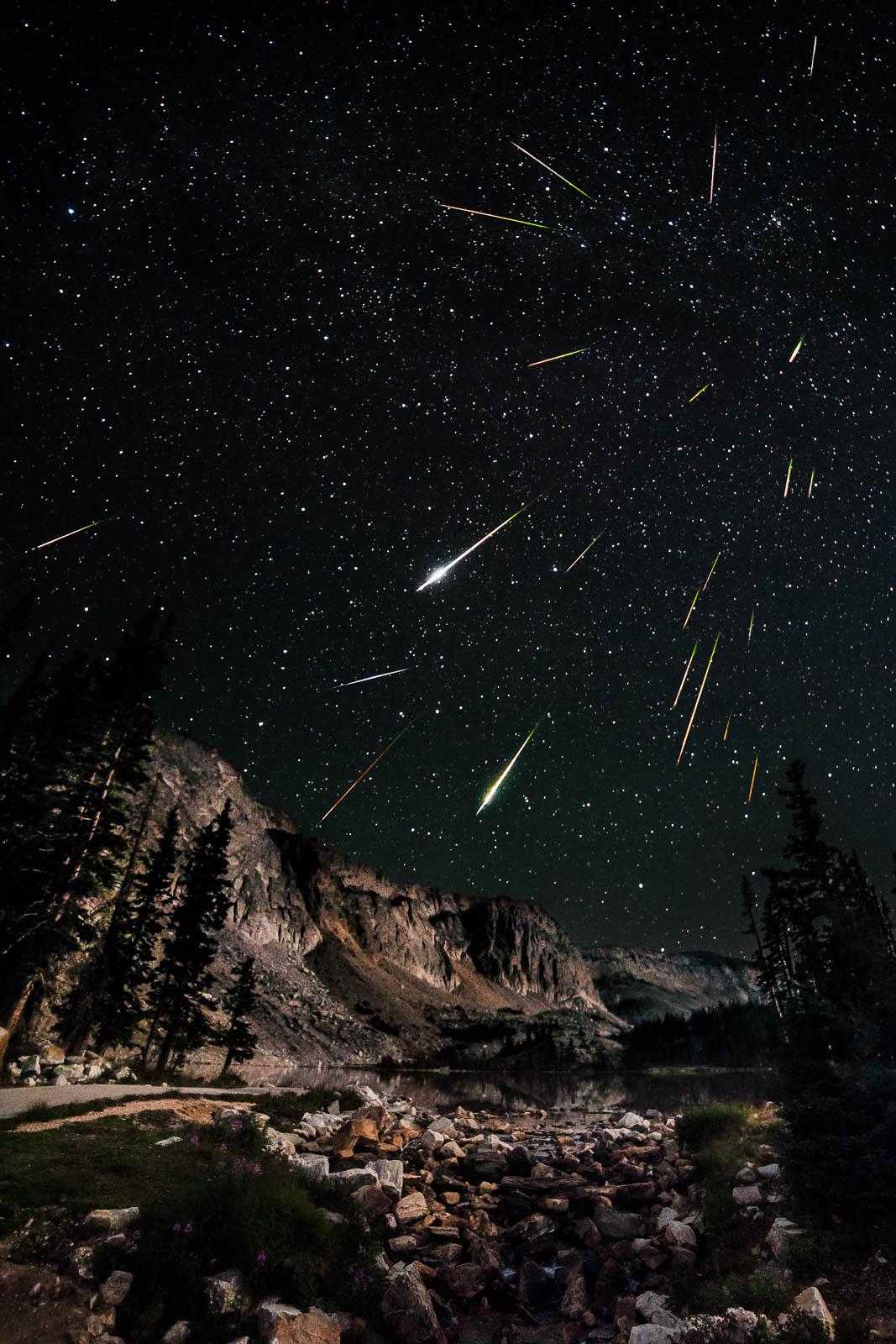 Perseids Meteor Shower over Snowy Range in Wyoming