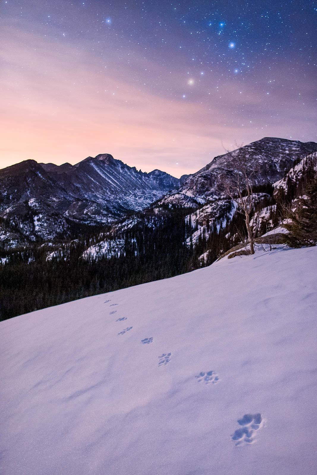 Night, Time, blue, clouds, colorado, longs peak, portrait orientation, purple, rmnp, rocky mountain national park, rocky mountains...